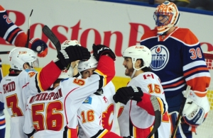 The Flames torched the Oilers 8-1 on Saturday. (Photo by Bruce Edwards/Edmonton Journal)